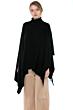 J CASHMERE Women's 100% Pure Cashmere Cowl-Neck Asymmetric Poncho Sweater