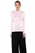 JENNIE LIU Tissue Weight 55% Silk 45% Cashmere Ribbed Long Sleeve Crew Neck Sweater
